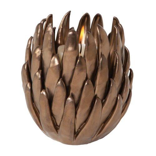 Chrysanthemum T-Lite Holder-Matte Bronze