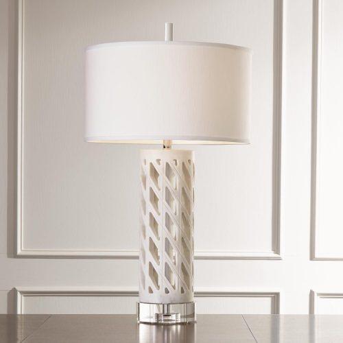 Diamond Fret Lamp-White
