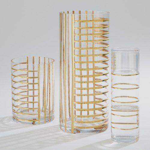 Glass Grid Vase-Gold