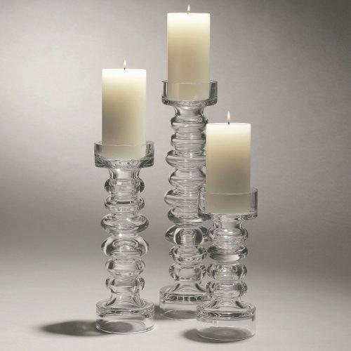 Glass Ribbed Candleholder:Vase