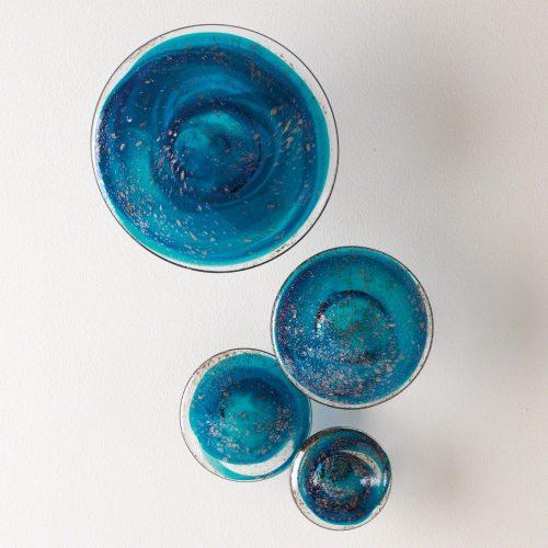 Glass Wall Mushrooms-Blue